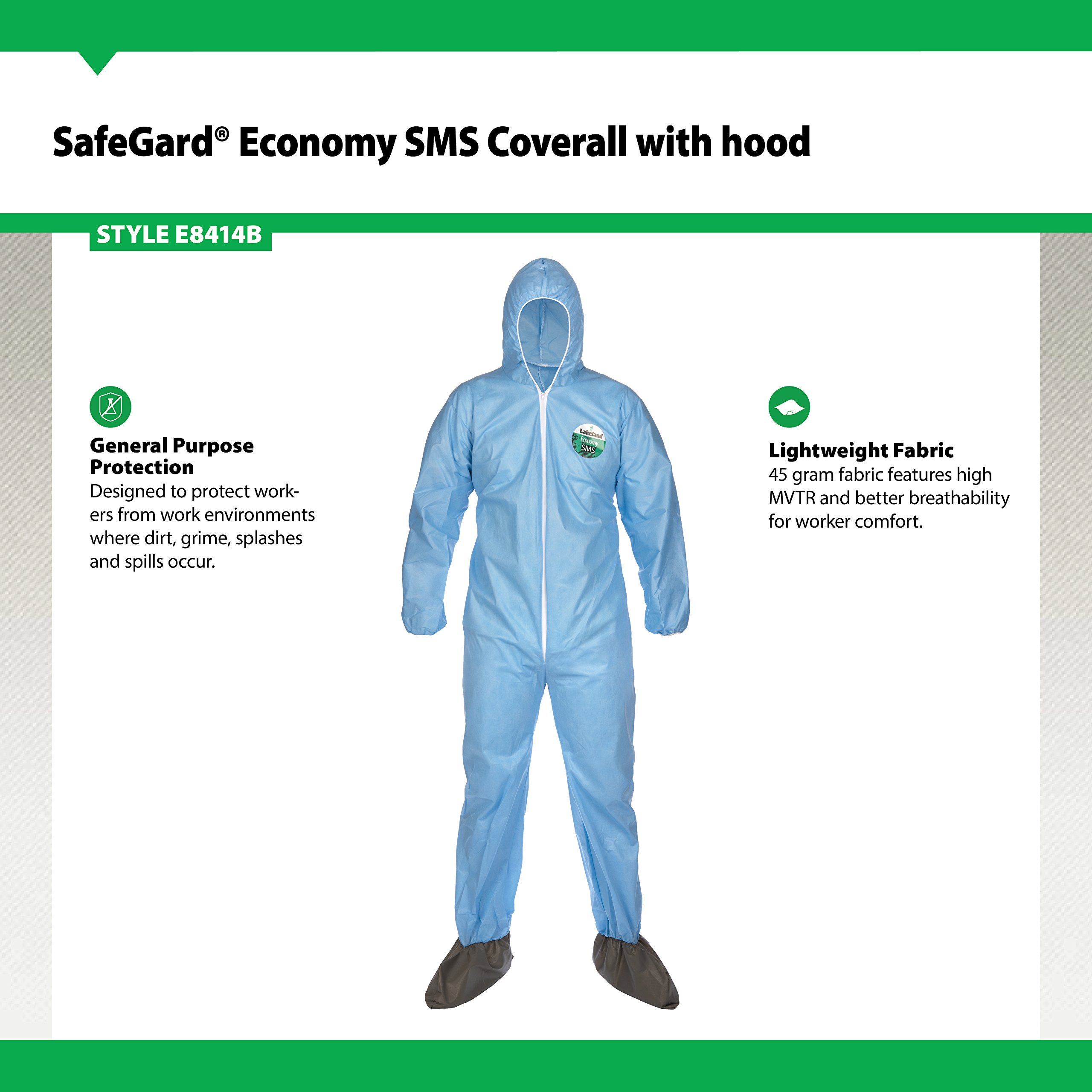 Lakeland SafeGard Economy SMS Coverall with Hood and Boots, Disposable, Elastic Cuff, 2X-Large, Blue (Case of 25) by Lakeland Industries Inc (Image #2)