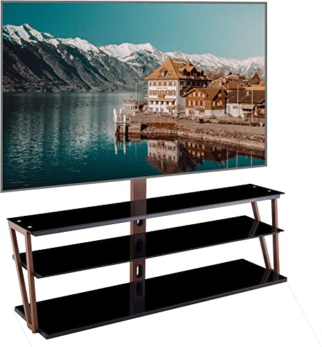 Glass TV Stand with Swivel Bracket Mount,Height Adjustable for 32 37 40 42 47 50 55 60 65 inch Plasma Flat or Curved Screen Television,Corner TV Base 3 Shelves Media Storage Black Brown, 60 Inch