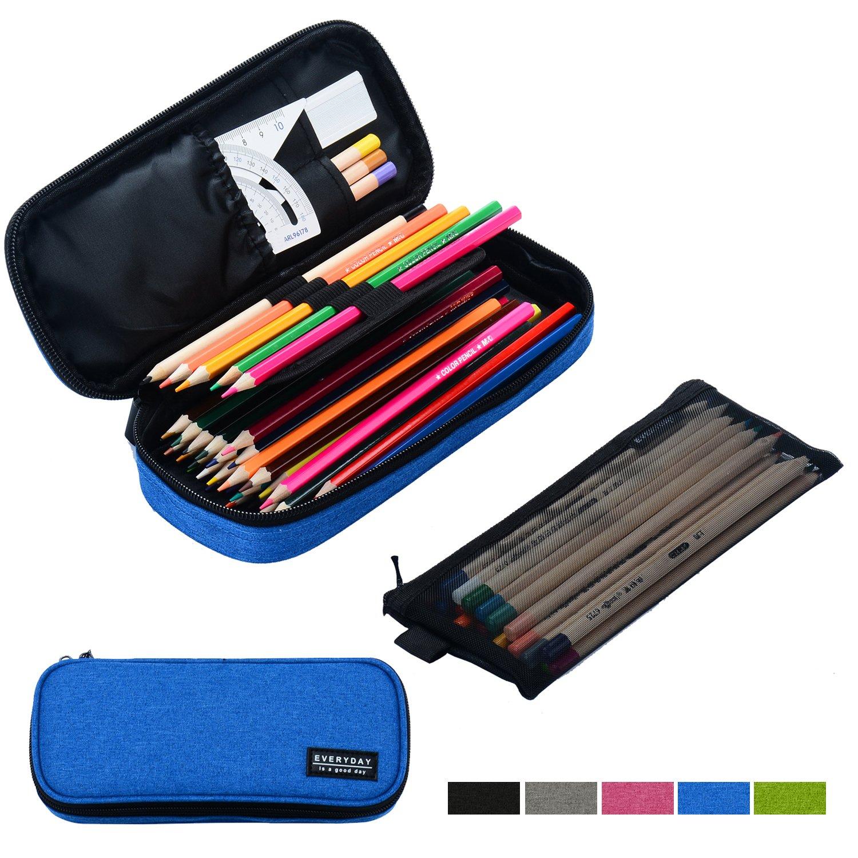 Srise Large Pencil Case Pencil Bag Zipper Pencil Pouch Boys & Girls (dodgerblue)