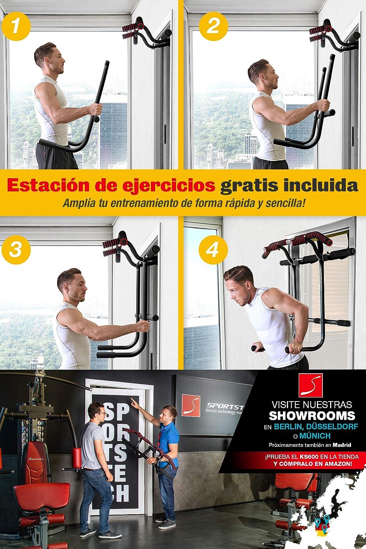 Sportstech 6en1 Barra de Dominadas - Marca de Calidad Alemana - Barra para Puerta sin Taladrar, Entrenamiento de Fuerza Crossfit en casa, KS600 ...