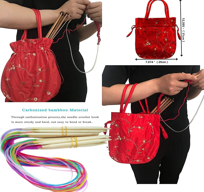 10mm 47 Length Bamboo Knitting Needles Set,Circular Wooden Knitting Needles with Knitting Bag 18 Sizes Knitting Needles 3.5mm
