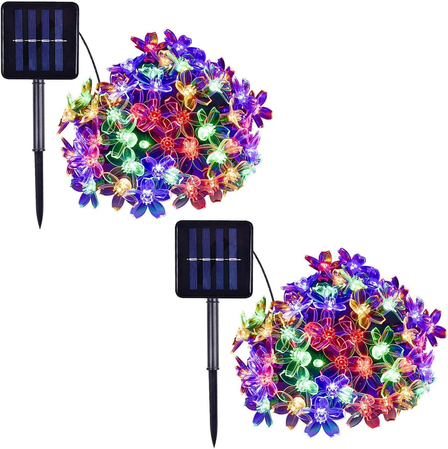 sprklinlin 2 Pack Solar String Lights Outdoor Decoracion, 50 LED 16.4ft Multicolor Waterproof Fairy Flower String Christmas Lights for Tree, Patio, Indoor Garden, Room, Holiday