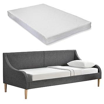 [en.casa] Sofá-Cama con colchón Incluido- Cama de día de Elegante diseño- de Tela Gris Oscura - con Patas de Madera (200cm x 90cm): Amazon.es: Hogar