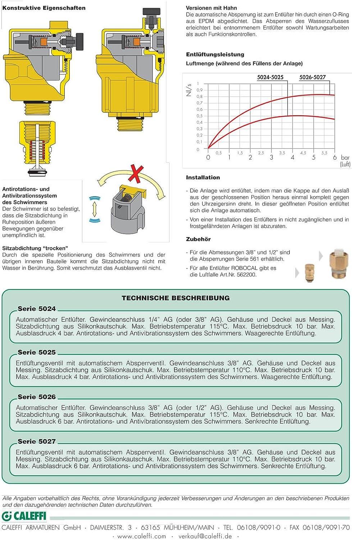 Caleffi Soupape 3//8/DN10/Syst/ème Purgeur rapide Purgeur air automatique S/éparateur da/ération Chauffage automatique ROBOCAL