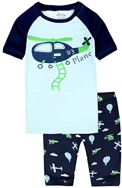 Baby Boys Pajamas Set Blue Cotton Helicopter Toddler Kids Short Sleeves PJ Sleepwear Clothes 2Y
