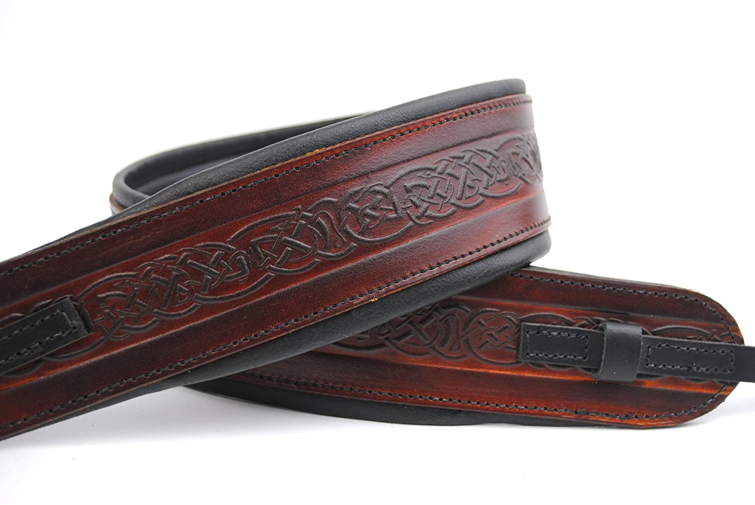 Uk Made Celtic Brown Leather Padded Banjo Strap ProKussion @ 1to1Music CF-OGMO-4KMC