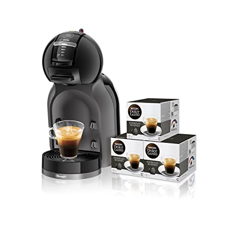 Pack DeLonghi Dolce Gusto Mini Me EDG305.BG - Cafetera de cápsulas, 15 bares de presión, color negro y gris + 3 packs de café Dolce Gusto Espresso ...