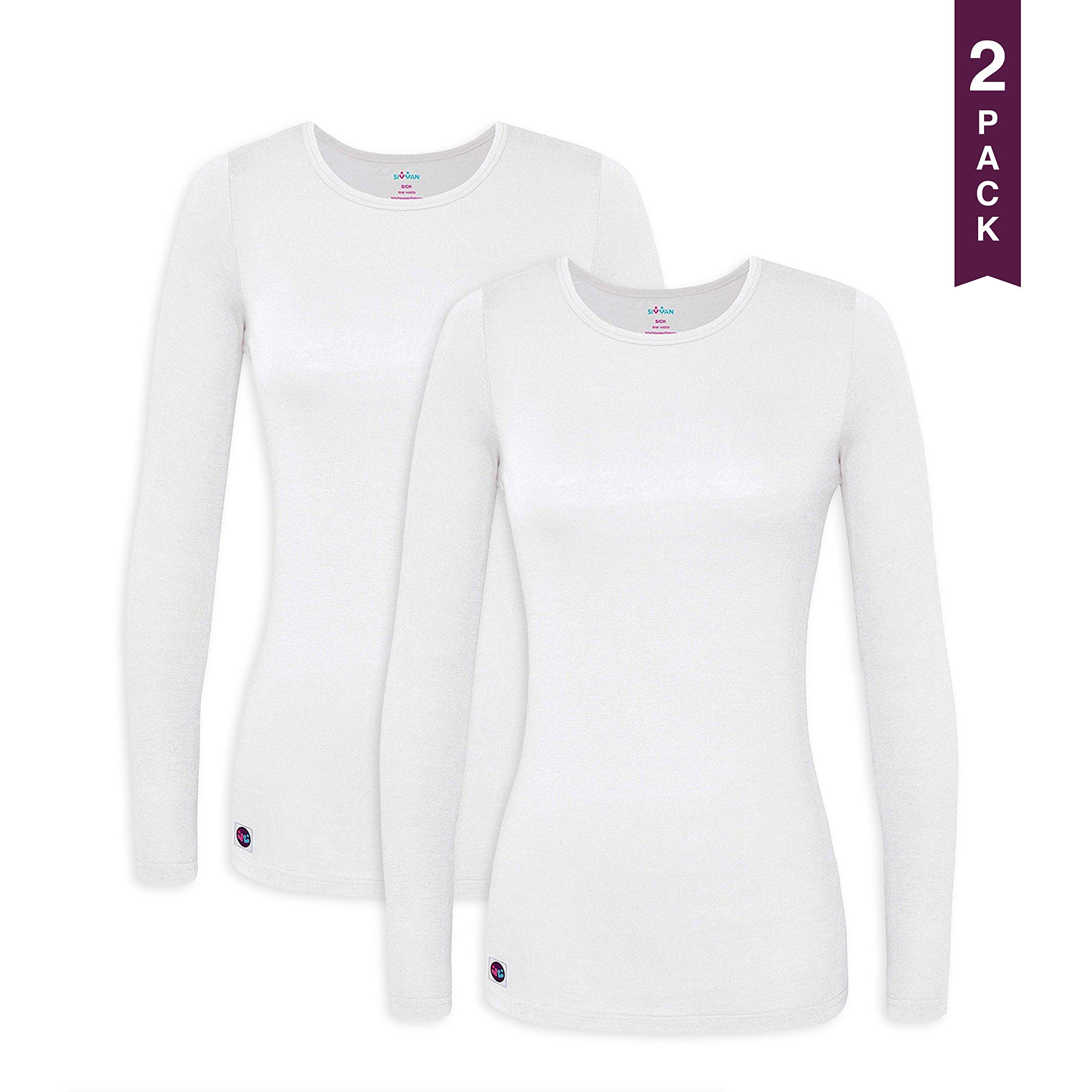 Sivvan 2 Pack Women's Comfort Long Sleeve T-Shirt / Underscrub Tee - S8500-2 - WHT - S