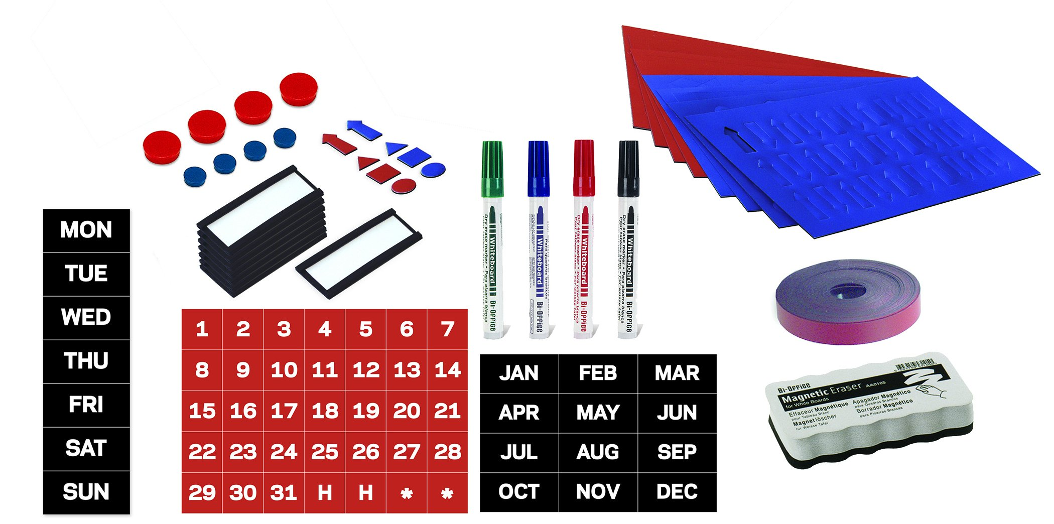 MasterVision Basic Magnetic Kit for Use with Magnetic Planning Boards, 27-Pieces