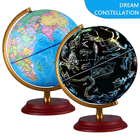 Amazon illuminated world globe with wooden base night view illuminated world globe with wooden base night view stars constellation pattern globe with detailed world gumiabroncs Images