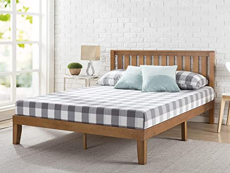 Amazon Com Zinus Alexia Wood Platform Bed Frame With Headboard Solid Wood Foundation With Wood Slat Support No Box Spring Needed Easy Assembly Rustic Pine Full Furniture Decor