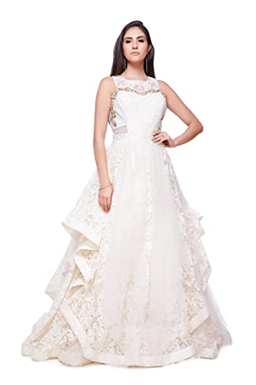 Buy Generic Women S Net Gown Dc 2720 White Free Size At Amazon In