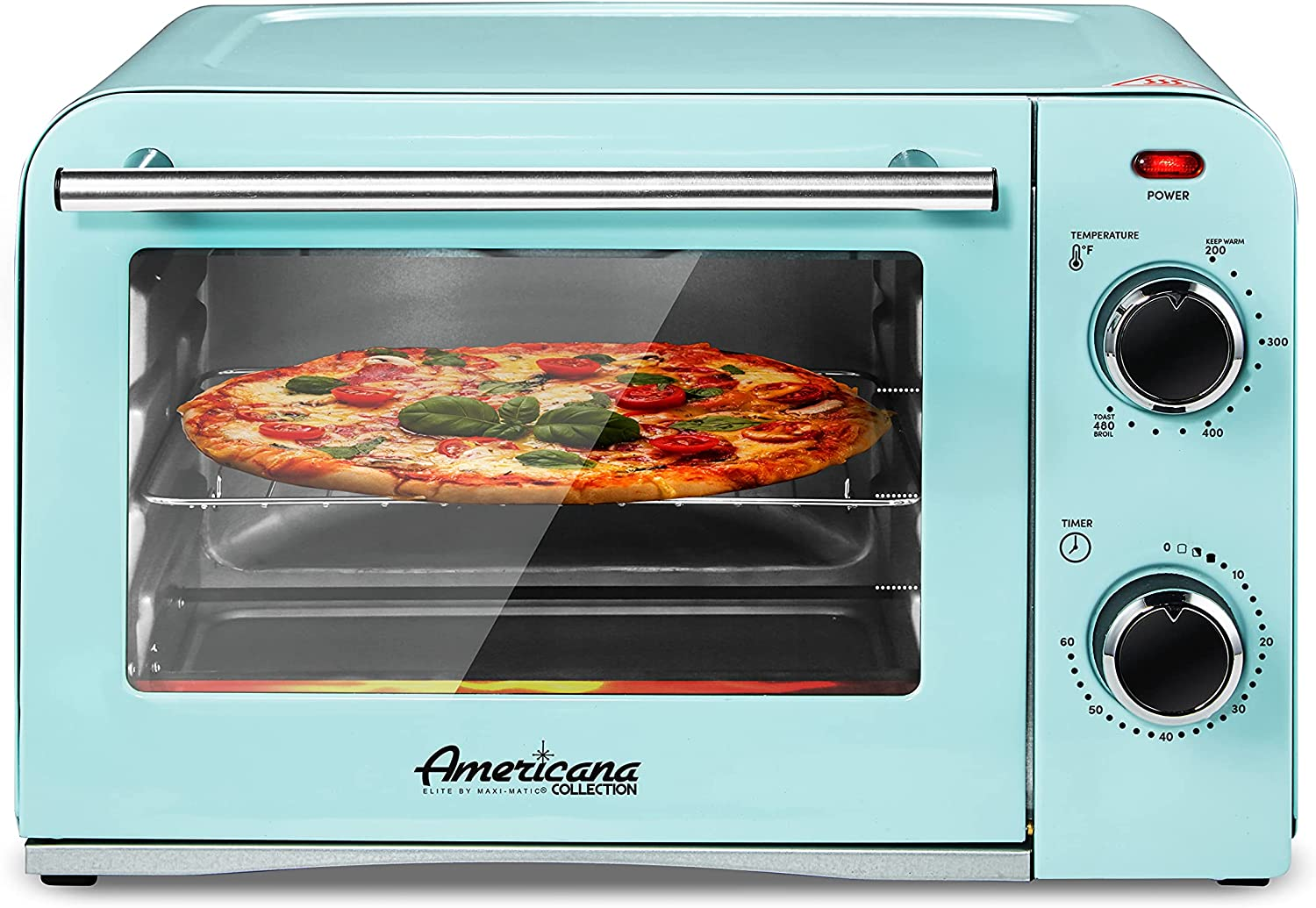 """Elite Gourmet Americana ETO1214BL Fits 9"""" Pizza, Vintage Diner 50's Retro Countertop Toaster oven Bake, Broil, Toast, Temperature Control & Adjustable 60-Minute Timer, Glass Door Printed Wrong"""