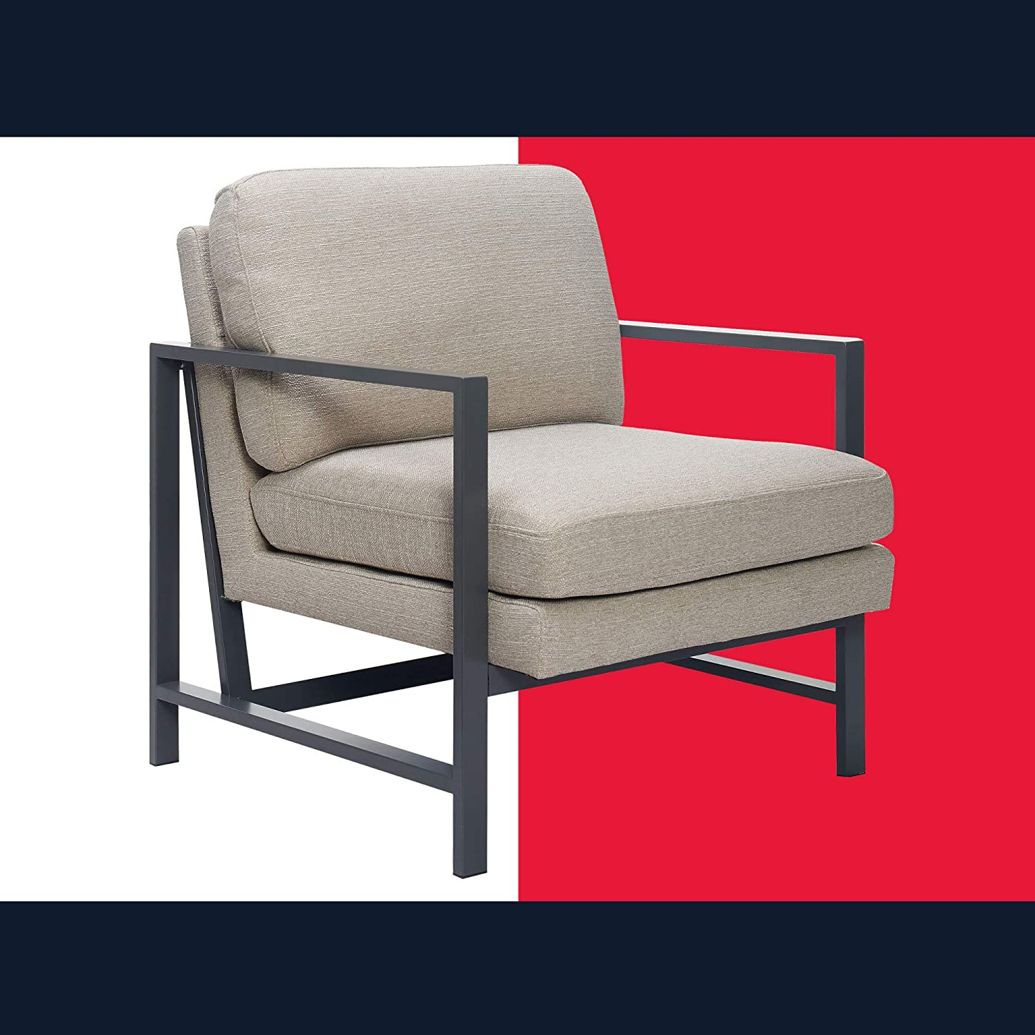 Tommy Hilfiger Russell Mid-Century Accent Chair, Metal Frame, Modern Upholstered Style, Off-White