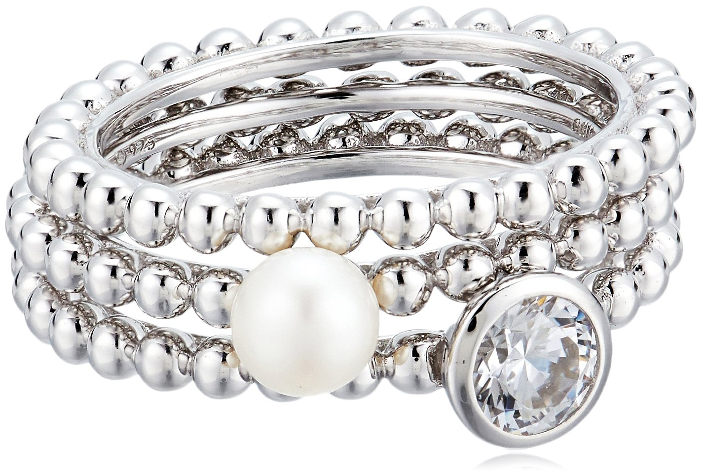 Platinum-Plated Sterling Silver Swarovski Zirconia Cultured Freshwater Pearl Stackable Ring, Size 8 by Amazon Collection