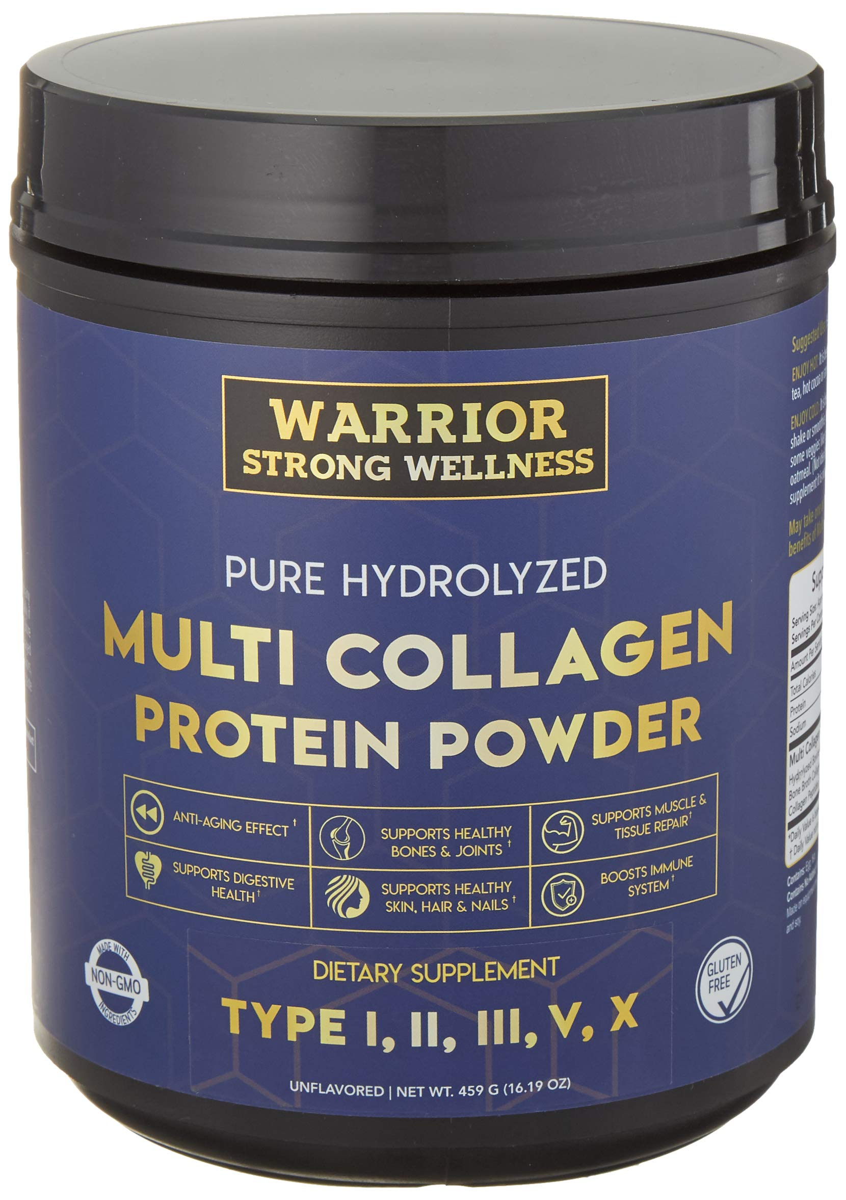 Premium Hydrolyzed Multi Collagen Protein Powder by Warrior Strong Wellness: High Quality Blend of Grass Fed Beef, Cage Free Chicken, Wild Fish, Eggshell, Keto Friendly; Providing Type I,II,III,V by Warrior Strong Wellness