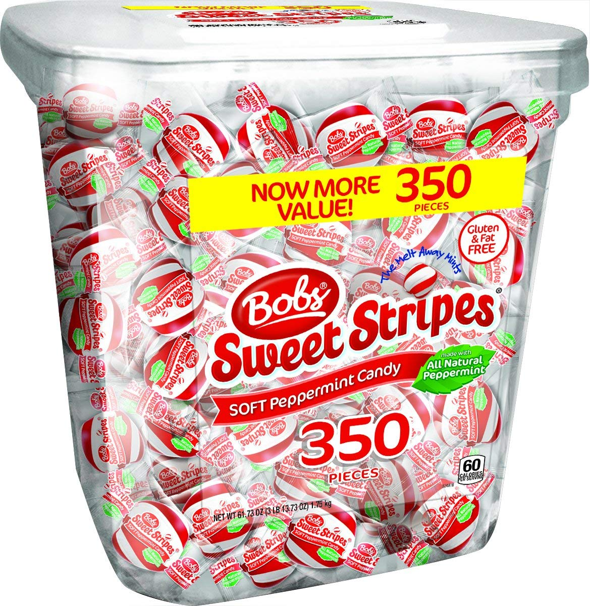 Bobs Sweet Stripes Soft Mints Candy, Peppermint, 3.85 Pound (3 Pack) by Bobs