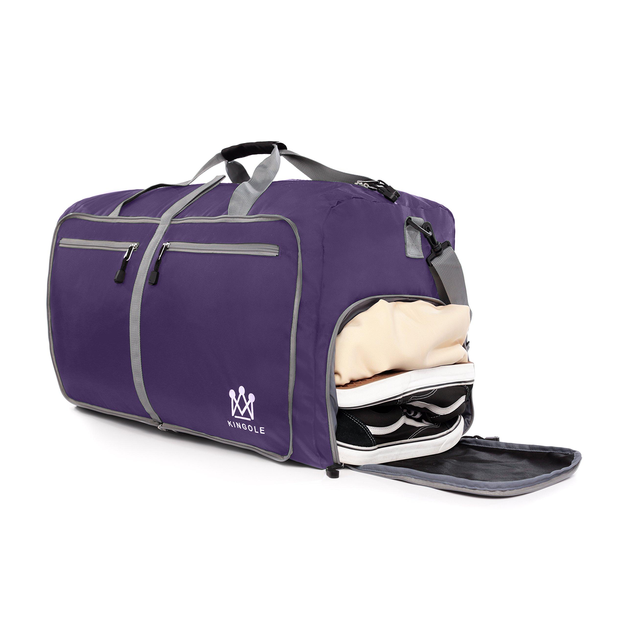 Travel Duffel Bag Foldable Lightweight For Women & Men YKK Zipper Gym Carry On 23''