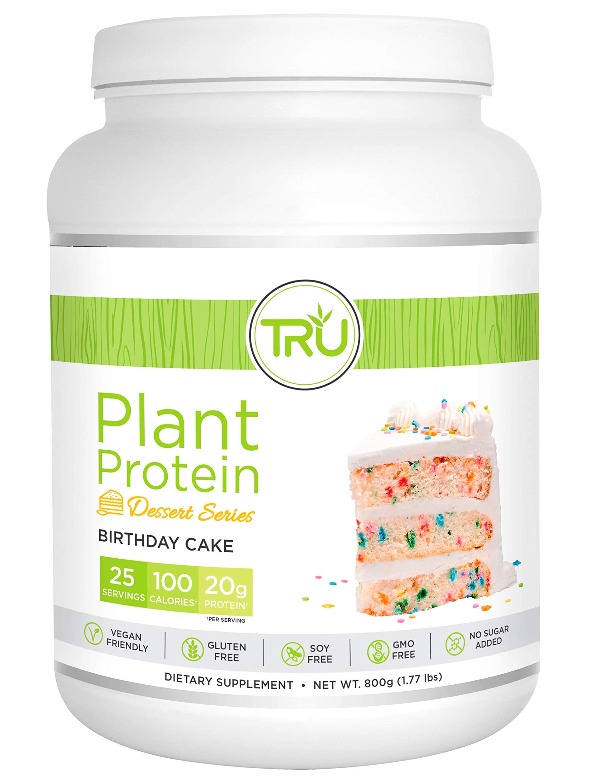 TRU Plant Based Protein Powder, Dessert Series, Vegan Friendly, Gluten Free, No Dairy, No Soy,25 Servings, Birthday Cake