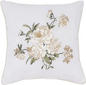 "Nostalgia Home Juliette Embroidered Decorative Pillow, 16"" Square, White Floral"