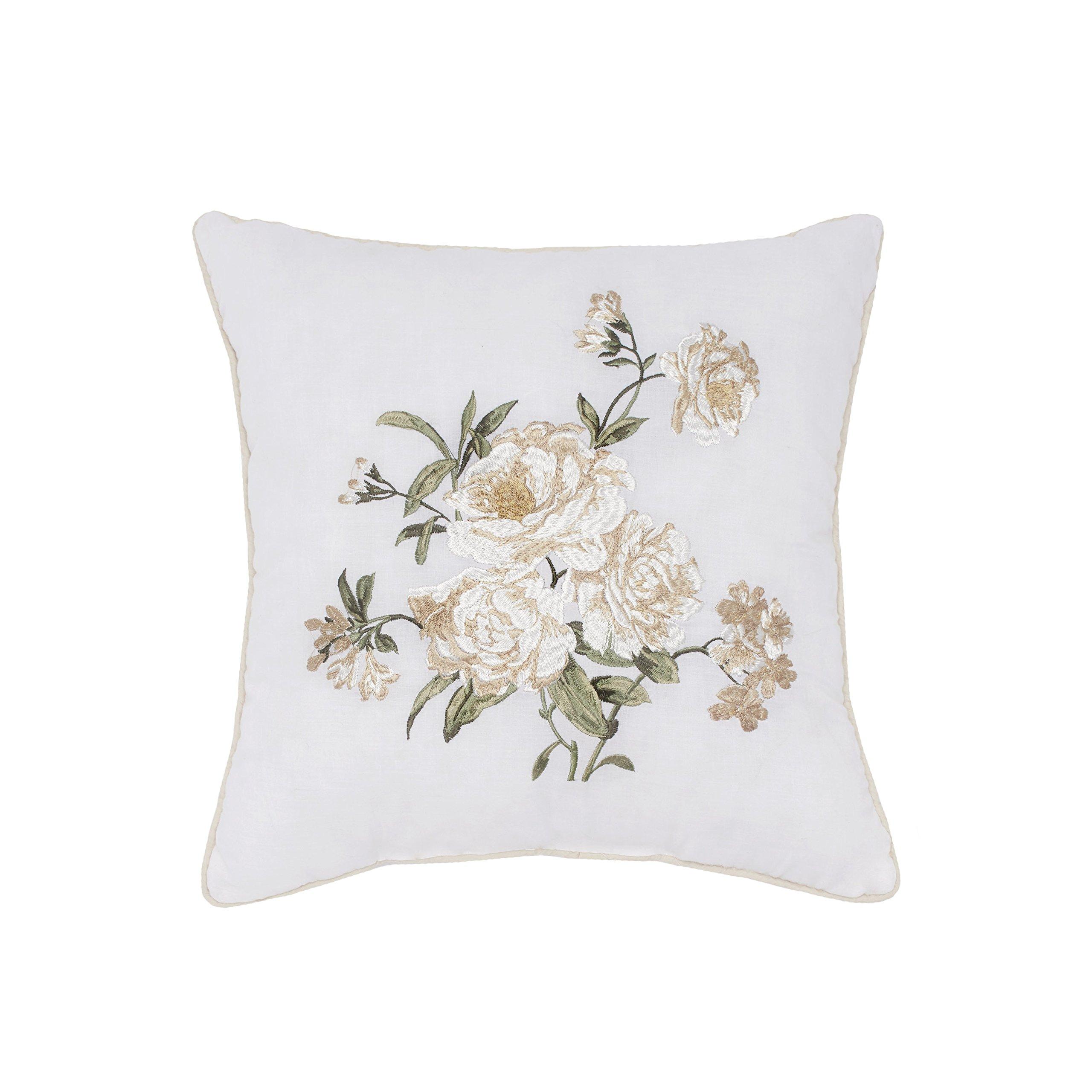 Nostalgia Home Juliette Embroidered Decorative Pillow, 16'' Square, White Floral