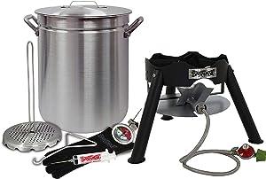 "Enterprises Turkey Fryer Complete Kit 42 Quart Aluminum Stockpot Perfect for Turkeys Up to 25 Pounds or Diameter of 14"""