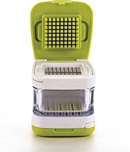 RSVP International Garlic Clove Cube Press Tool, Green/White | BPA-Free Plastic with Stainless Steel Blades | Minces & Slices | Chop, Crush, or Dice Garlic & Herbs | Dishwasher Safe