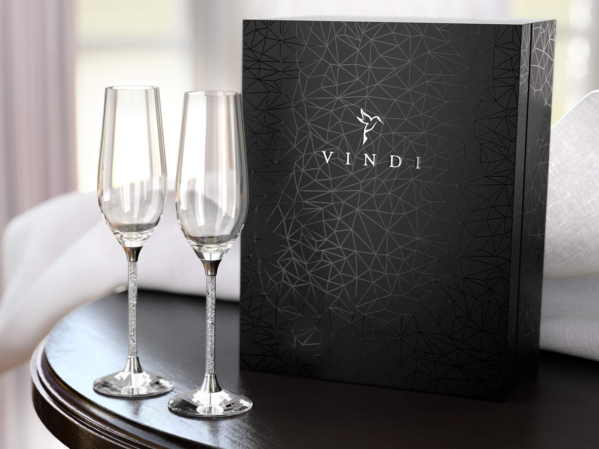 Perfect Wedding Gift - Crystal Champagne Glasses by Vindi Design. Toasting Flutes. Genuine Crystals in Stem. Lead Free. Set of 2 + Gift Box, Black. by Vindi Design (Image #4)
