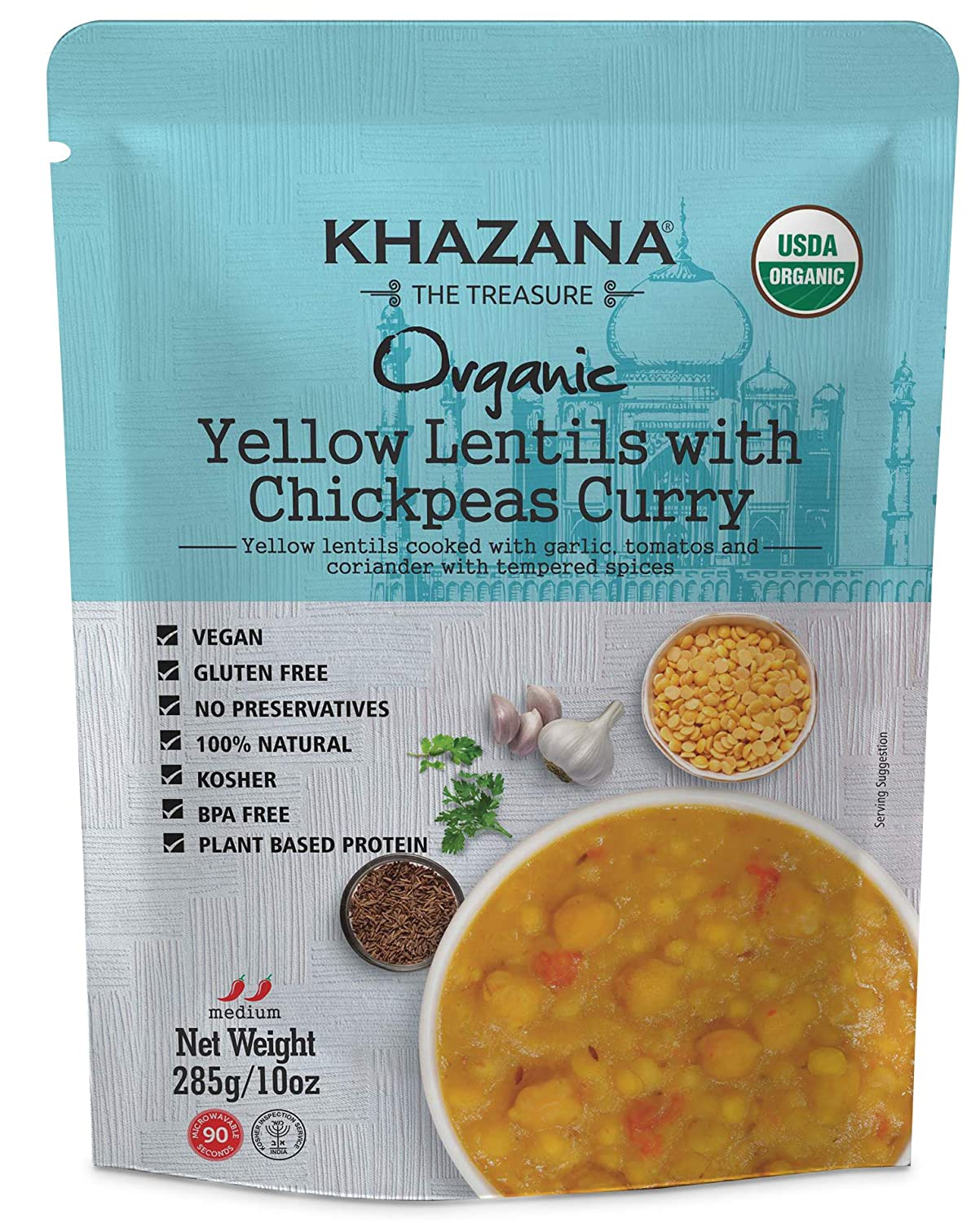 Khazana ORGANIC Ready to Eat Indian Meals (6-Pack) - Yellow Lentils w/ Chickpeas Curry - 10oz Pouches | Non-GMO, Vegan, Gluten Free & Kosher | Authentic Cuisine in 90 Seconds!