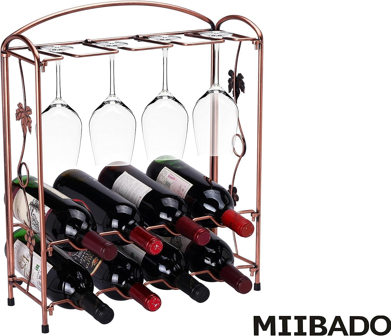 MIIBADO Elegant Wine Rack Stainless Steel Folding Rack Stand Hold 8 Wine Glasses and 8 Bottles of Wine,Bronze