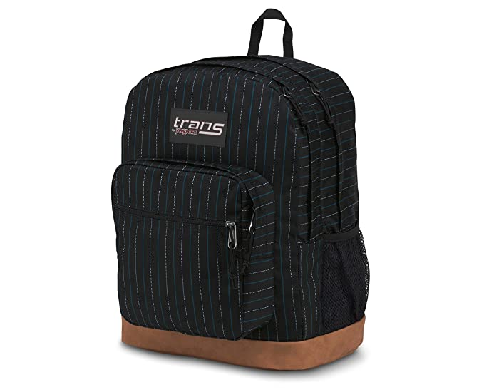 44272cb8663c Trans by JanSport 17 Super Cool Backpack Zoot Suit Pin Stripe Black with  Brown Synthetic Leather Base - 15