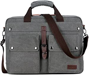 BAOSHA BC-07 17inch Canvas Laptop Computer Bag Messenger Bag Multicompartment Briefcase (Grey)
