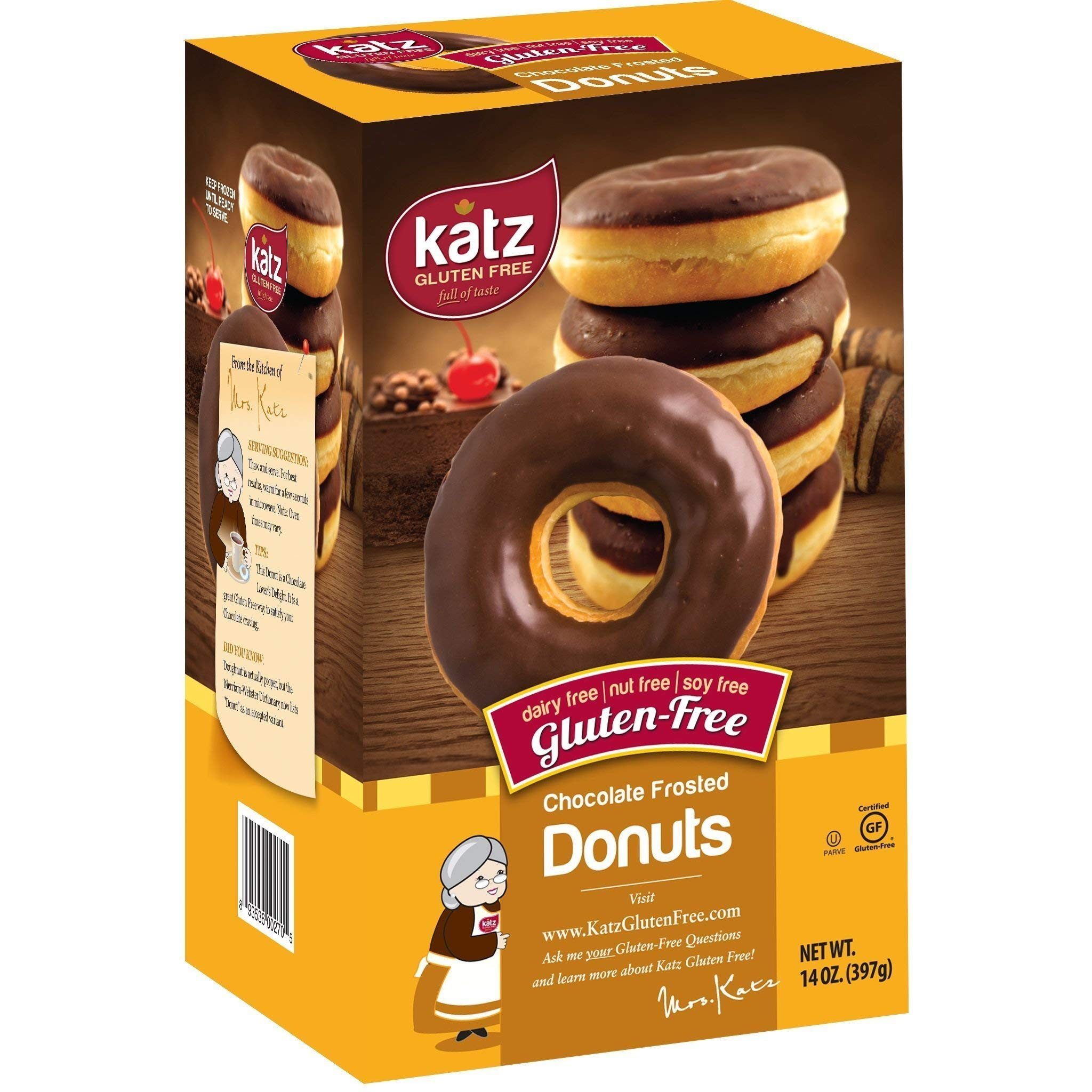 Katz Gluten Free Chocolate Frosted Donuts | Dairy, Nut, Soy and Gluten Free | Kosher (1 Pack of 6 Donuts, 14 Ounce)