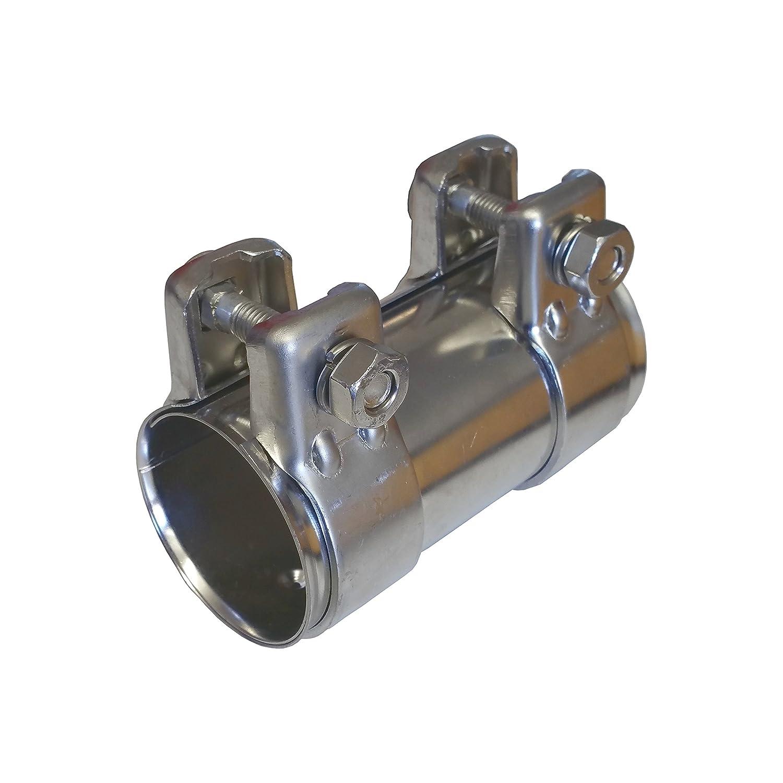 Tubo di scarico ø 45mm x125mm Acciaio Inox Universale Connettore + 2X fascetta scarico 48, 5 Alutec