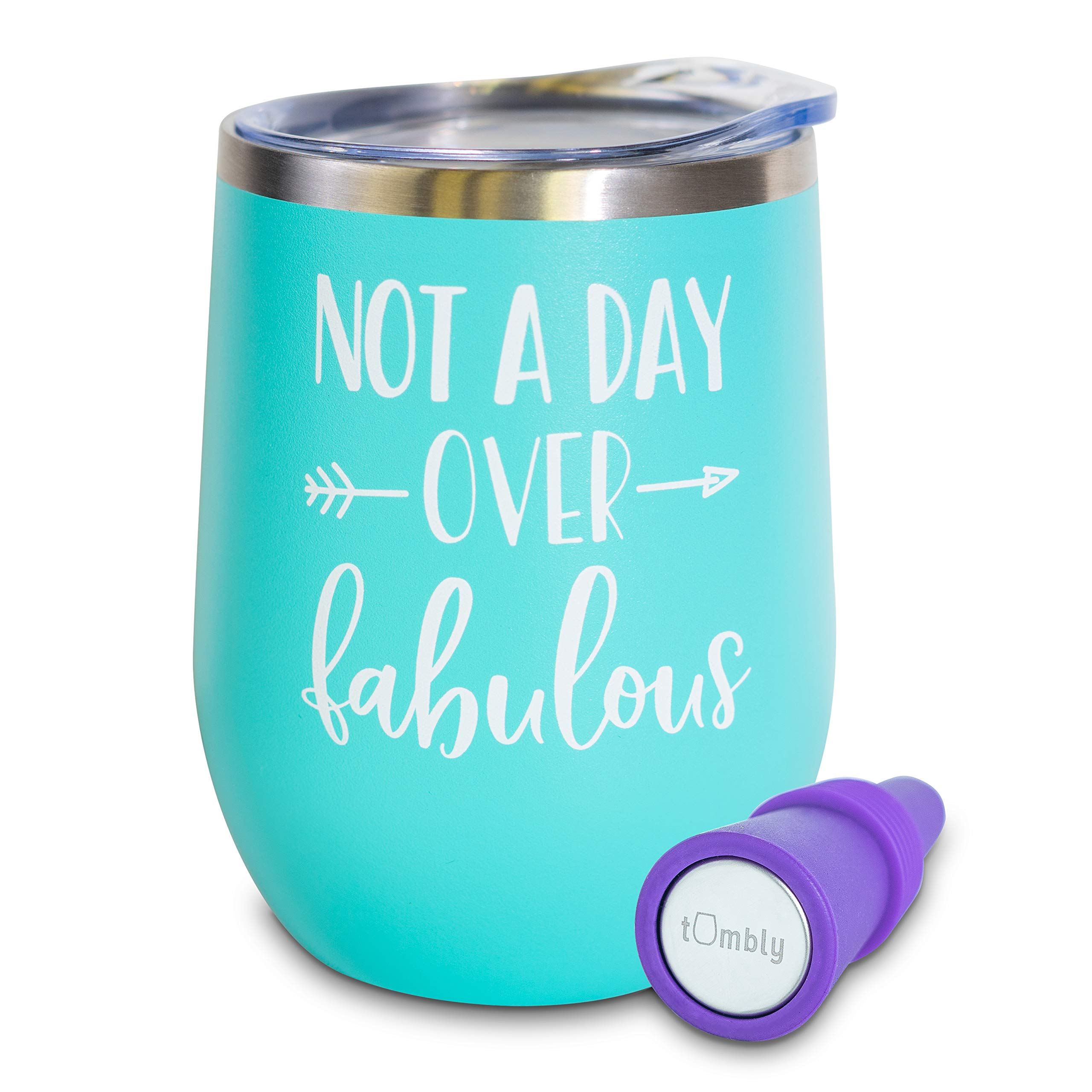 Not A Day Over Fabulous Wine Tumbler - 12 oz Stainless Steel Tumbler with Lid - Includes Wine Stopper - 30th, 40th, 50th, 60th, Birthday Gifts for Women - Birthday Wine Glass - Wine Gifts for Women