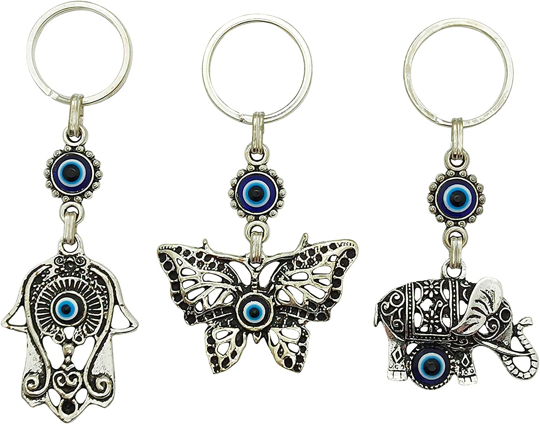 Hamsa Butterfly Elephant Set of 3 Erbulus Turkish Blue Evil Eye Keychain Amulet