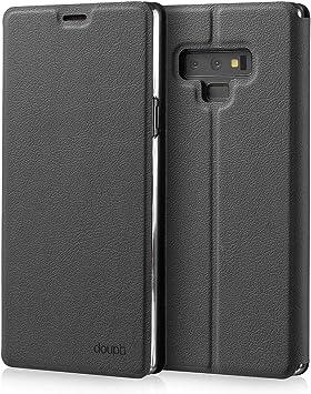 doupi Deluxe FlipCover para Samsung Galaxy Note 9, Carcasa Case magnético Funda Caso tirón Estilo Libro Protector de Cuero Artificial, Negro: Amazon.es: Electrónica