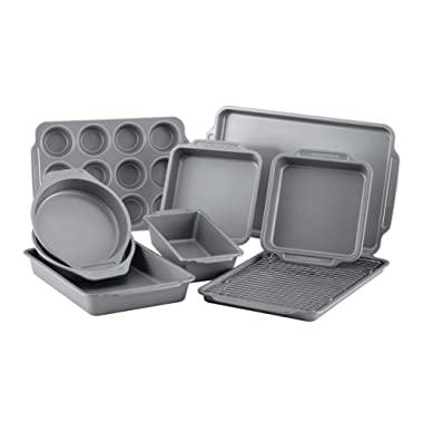 Farberware Nonstick Bakeware 10-Piece Set with Cooling Rack, Gray, Large - 46650