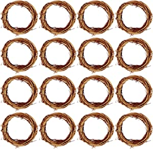 Grapevine Wreath Set, Marrywindix 16 Pieces Natural Vine Branch Wreath Christmas DIY Rattan Wreath Garland for Christmas Holiday Craft Wedding Decor (4 in.)