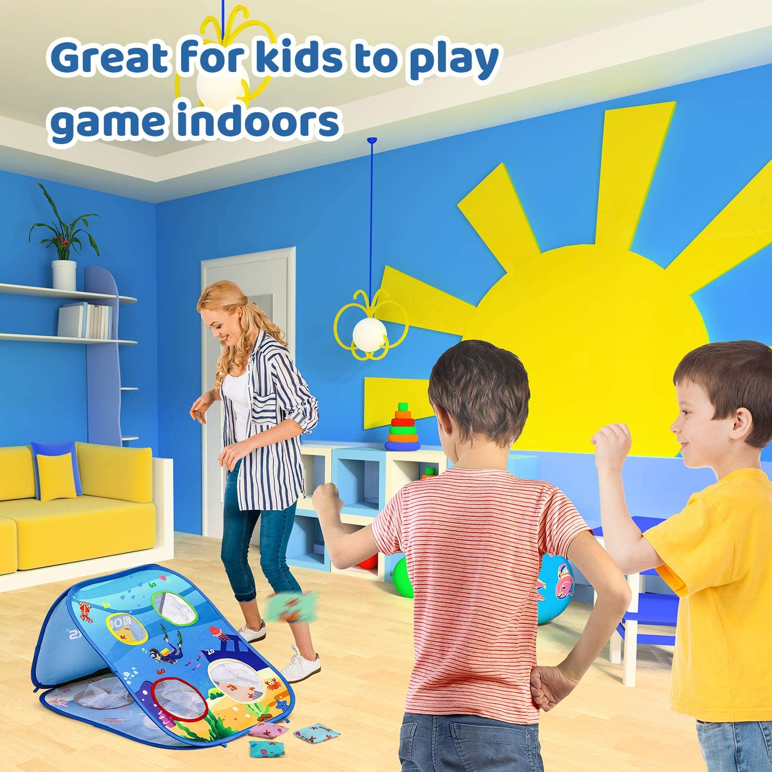 Double Sided Portable Cornhole Boards Collapsible Bean Bag Toss Game Toy with 6 Ocean Themes Beanbags for Indoor Outdoor Toss Games NONZERS Bean Bag Toss Game for Kids