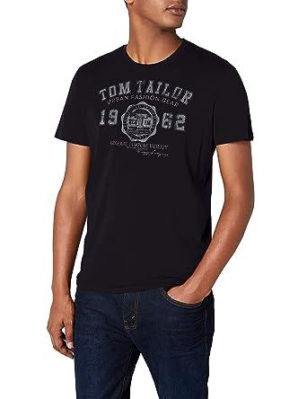 120fa361d06b Tom Tailor Logo - T-shirt - Asymétrique - Imprimé - Manches courtes - Homme   Amazon.fr  Vêtements et accessoires