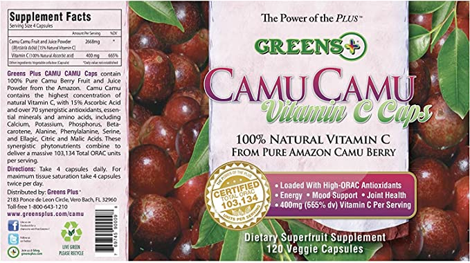 Greens Plus, Camu Camu Vitamina C Cápsulas, 120 Cápsulas Vegetales: Amazon.es: Salud y cuidado personal