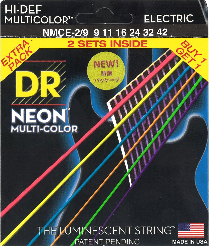 DR Strings Hi-Def NEON - Cuerdas para guitarra eléctrica (9-42), 2 unidades