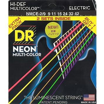 Dr cuerdas Hi-Def neón multicolor luz cuerdas para guitarra eléctrica (9 - 42) 2 unidades: Amazon.es: Instrumentos musicales