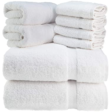 Luxury Bath Towel Set White - Combed Cotton Hotel Quality Highly Absorbent 8 Piece Towels - 2 Bath Towels, 2 Hand Towels, 4 Washcloths [Worth $72.95] (White, 8Pc)