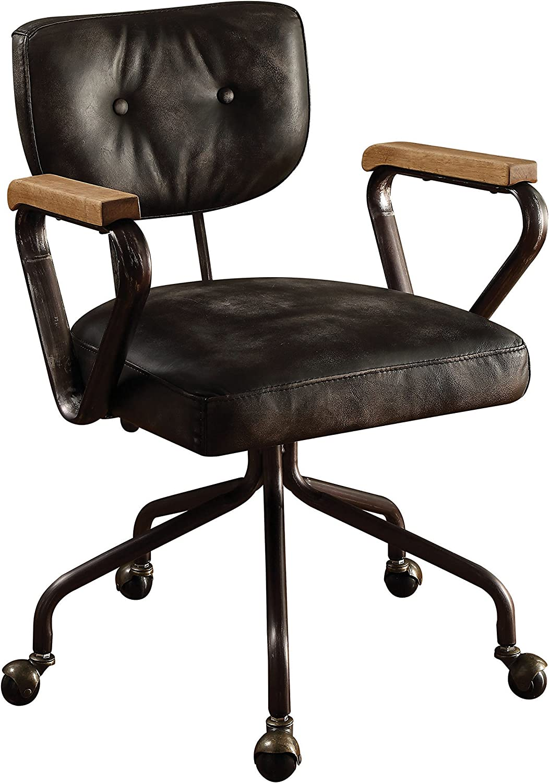 Amazon Com Acme Hallie Top Grain Leather Office Chair Vintage Black Furniture Decor