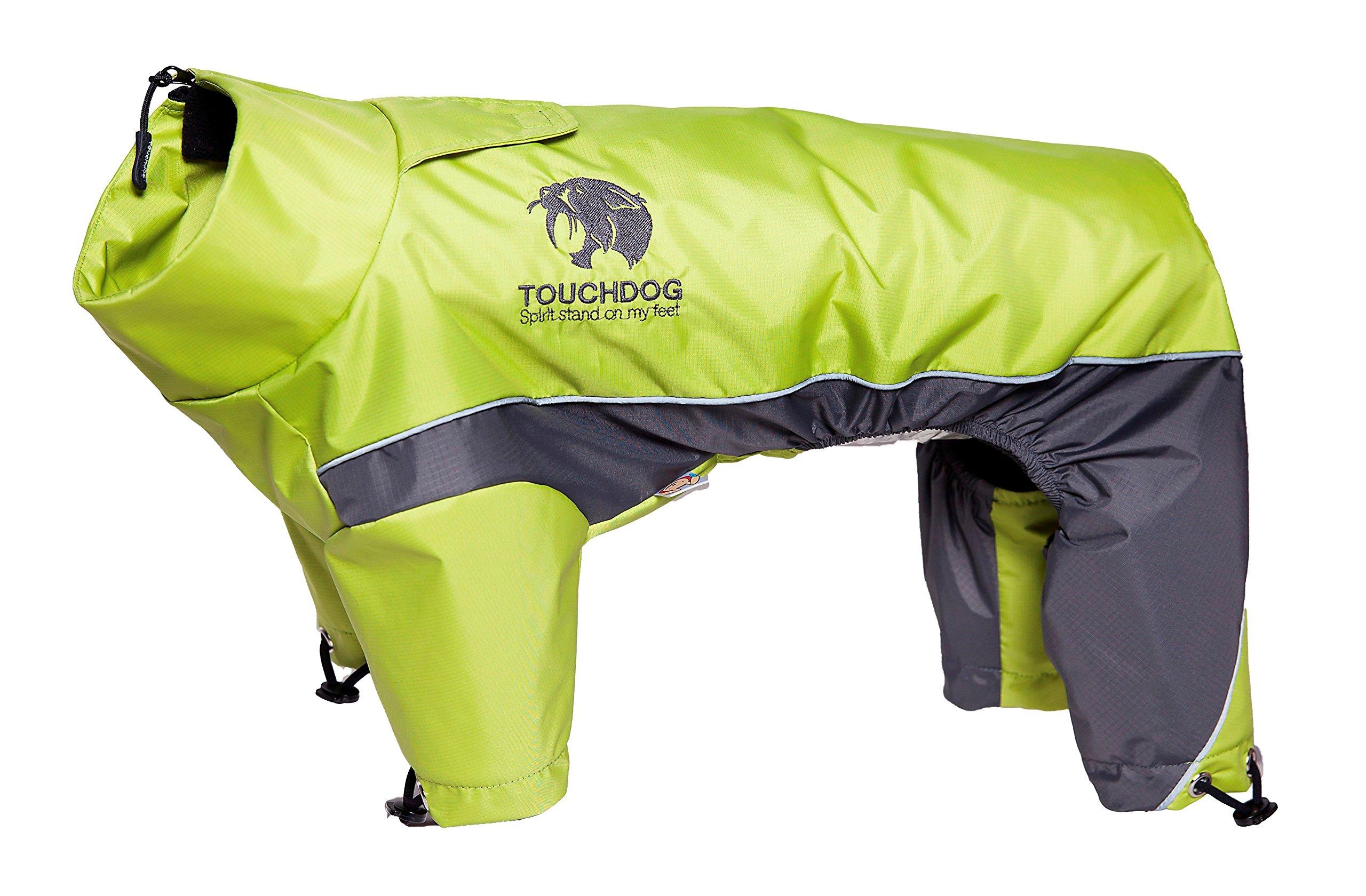 TOUCHDOG 'Quantum-Ice' Full Body Bodied Adjustable and 3M Reflective Pet Dog Coat Jacket w/ Blackshark Technology, Medium, Light Yellow, Grey
