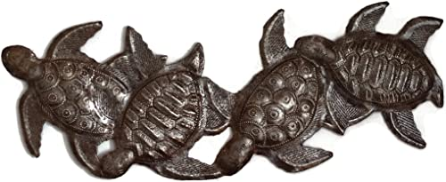 Sea Turtle Decor, Metal Wall Art, Handmade in Haiti, Steel Drum Art 6 x 17 Inches