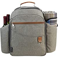 Picnic Backpack Sets for 4 Persons,Picnic Cooler Bag with Roomy Insulated Compartment, Bottle Holders and Waterproof Picnic Rug (Brushed Khaki)