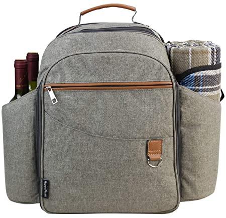 Picnic Backpack Sets for 4 Persons,Picnic Cooler Bag with Roomy Insulated Compartment, Bottle Holders and Waterproof Picnic Rug Brushed Khaki